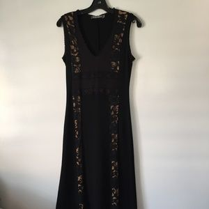 NWOT Bisou Bisou • Black Maxi Dress with Lace Trim